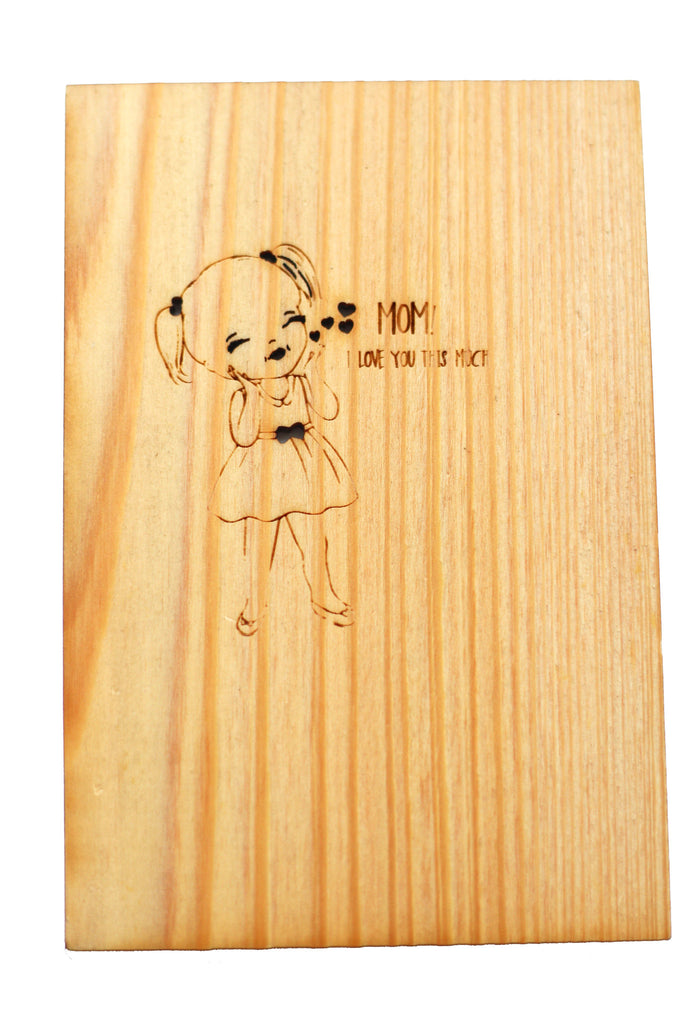Wood Greeting Card - Love You Mom - Harley London