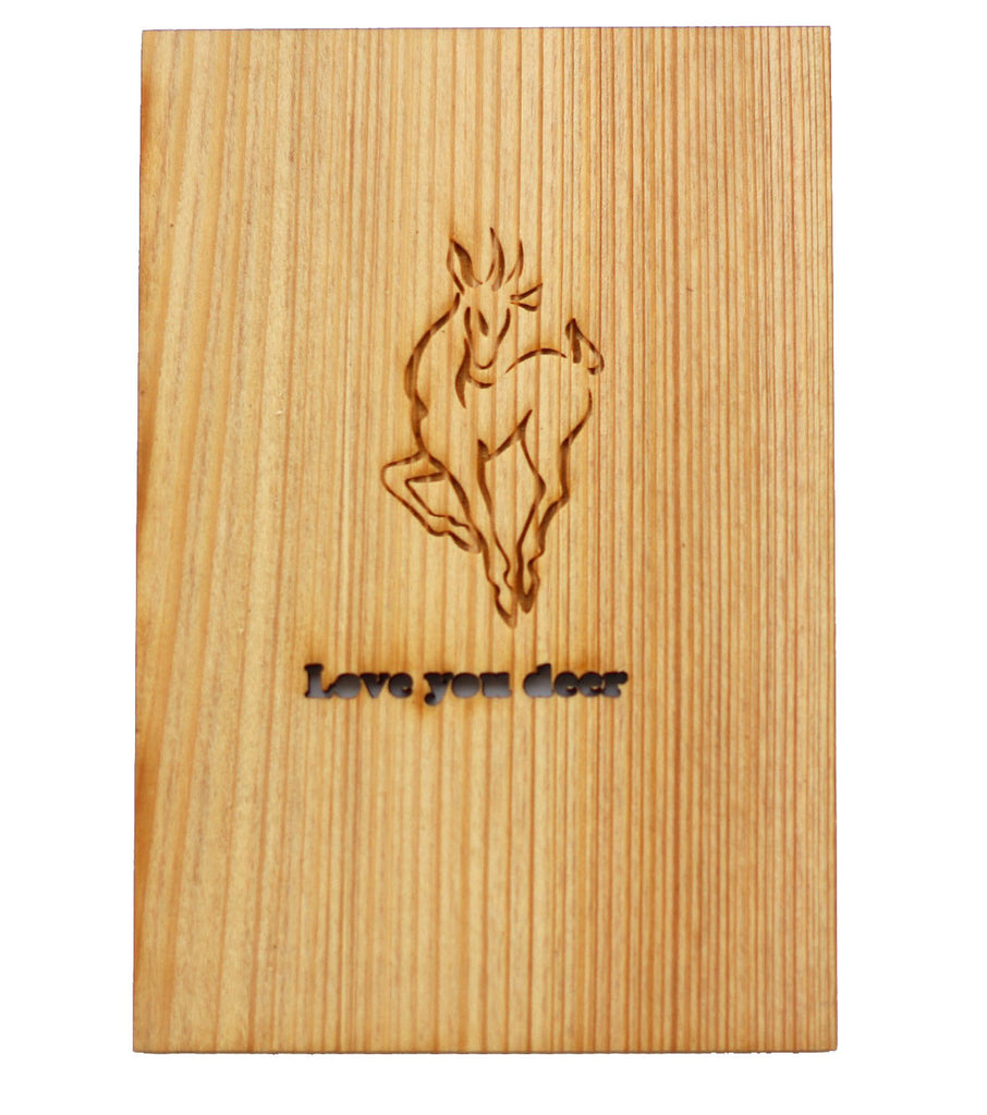 Wood Greeting Card with engraved words Love You Deer - Harley London