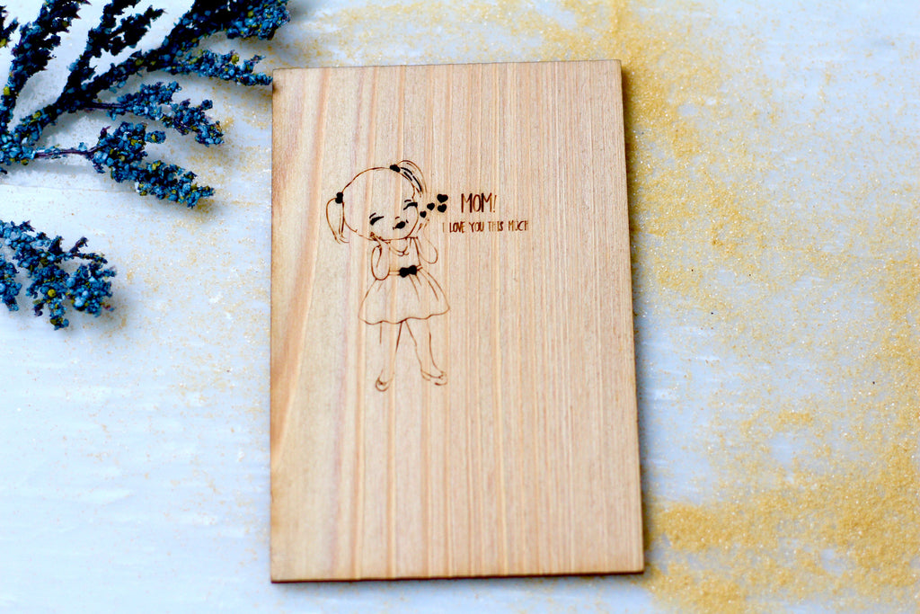 Wood Greeting Card - Wood Love You Mom Greeting Card- Harley London