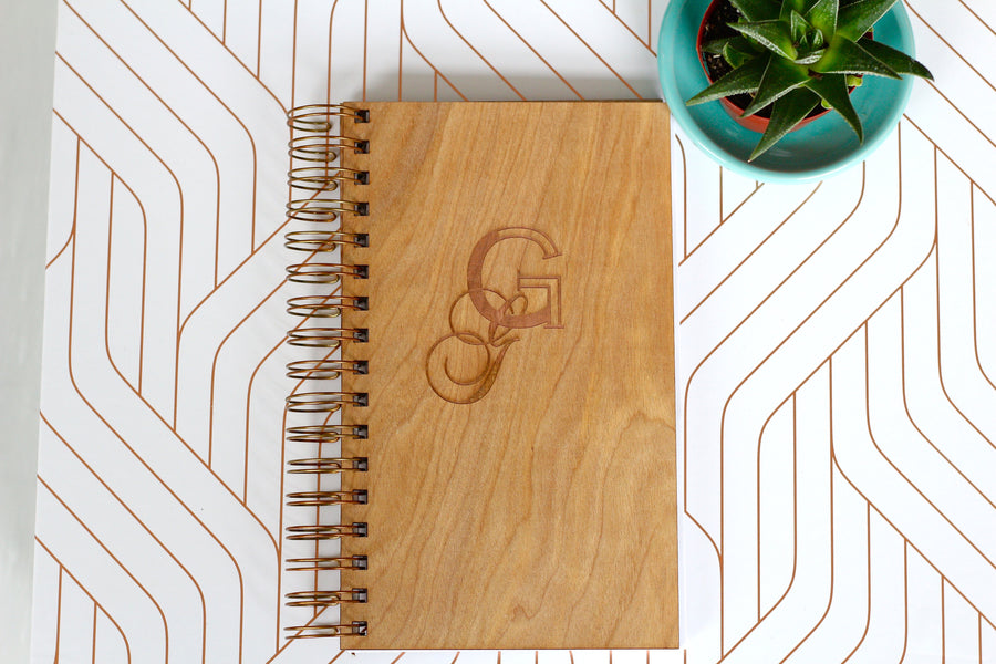 Wooden Monogrammed Notebook Journal - Double Monogrammed Journal