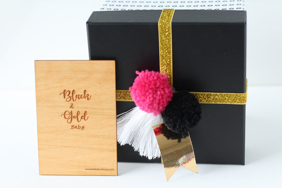 Wood Greeting Card - Black & Gold Baby - Harley London