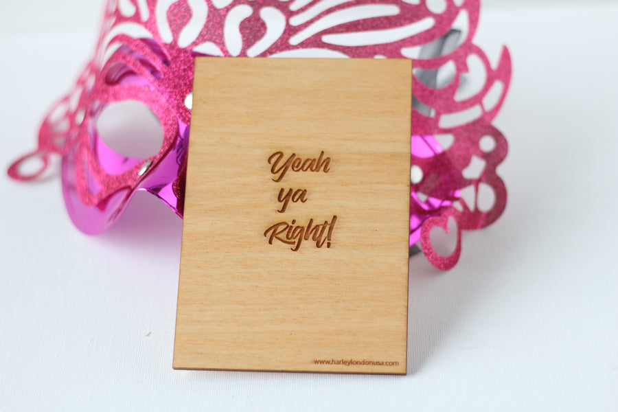 Wood Greeting Card - Yeah Ya Right - Harley London