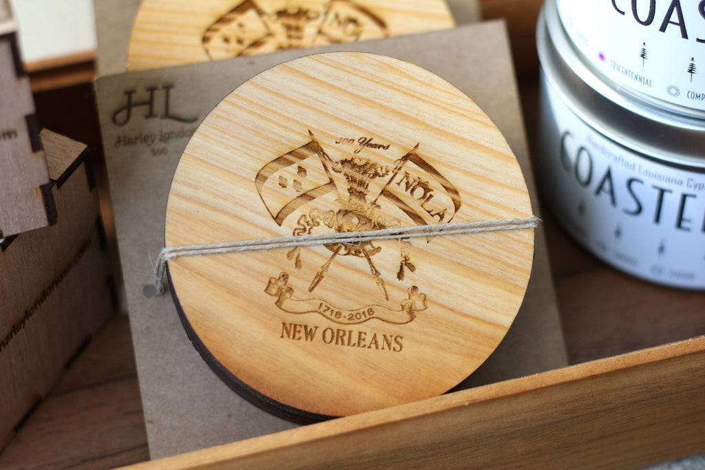 New orleans tricentennial coasters | wooden new orleans tricentennial coasters