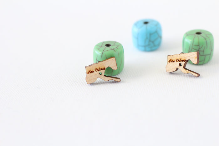 Wooden New Orleans City Map Earrings