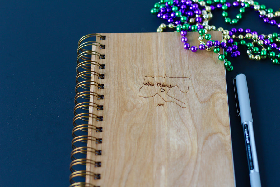 I love New Orleans Notebook Journal made from wood