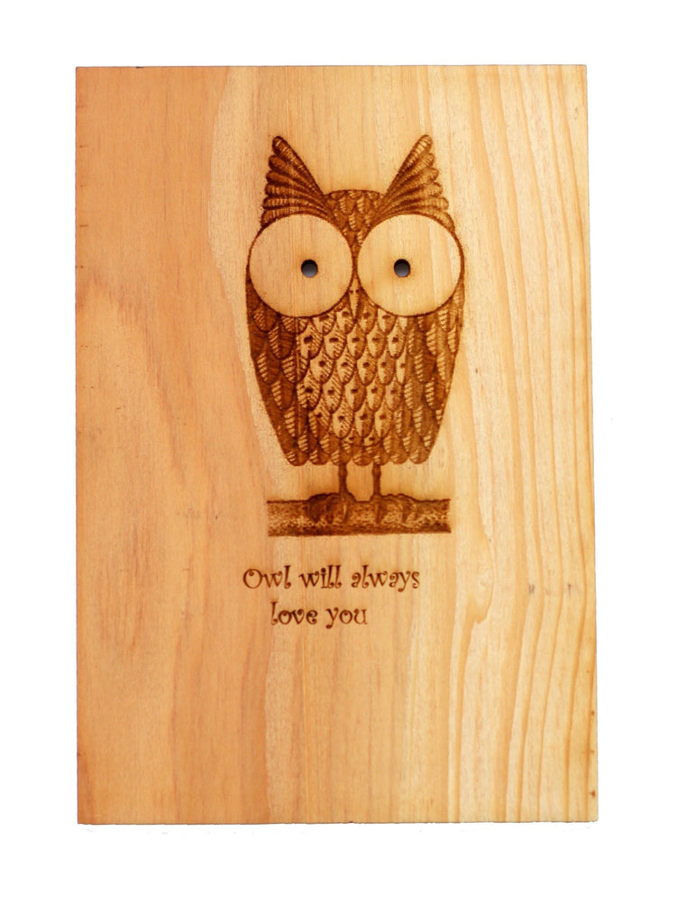 Wood Valentine's Card with a cute owl on a branch and the words Owl will always love you written on it - The cards is handcrafted by Harley London