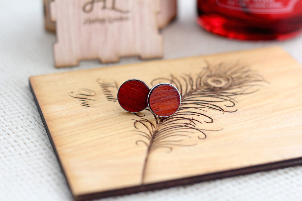 Padauk Wood Cufflinks by Harley London - Red Wood Cufflinks - exotic wood and stainless steel cufflinks