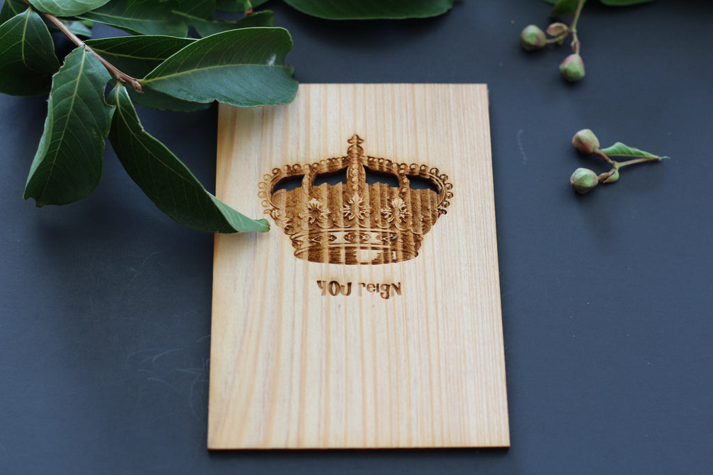 Wooden Engraved Greeting Card with Crown  Royalty card for king or queen with crown