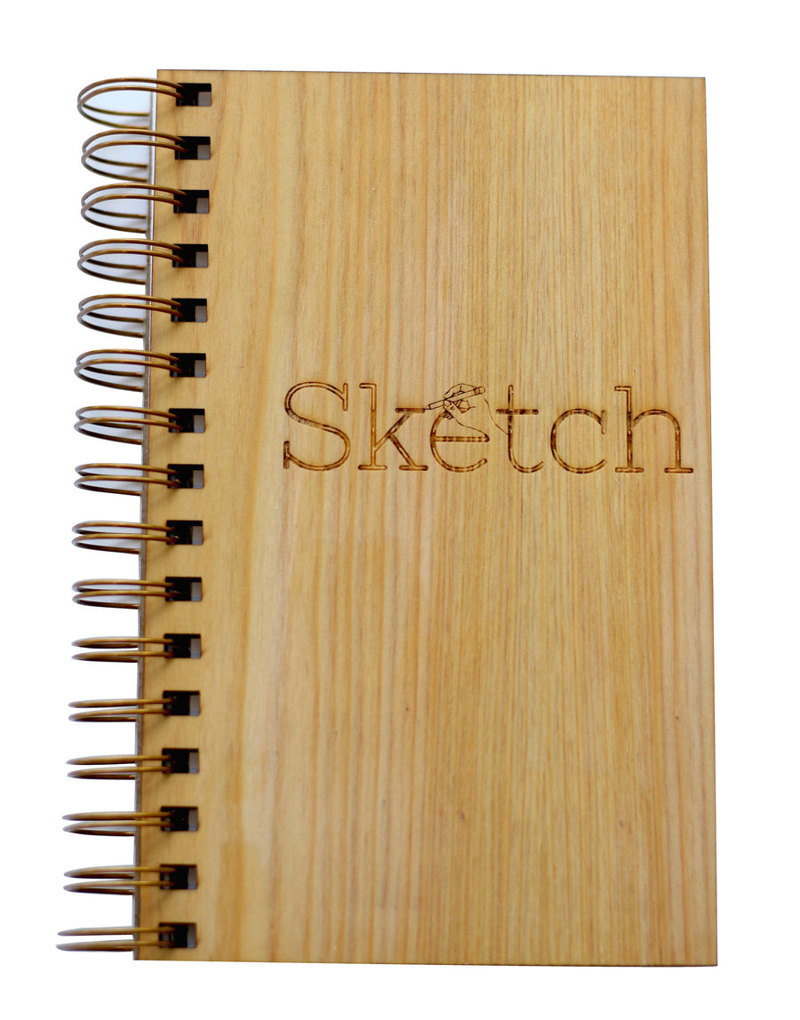 Closeup of Wooden Sketch Book Notebook