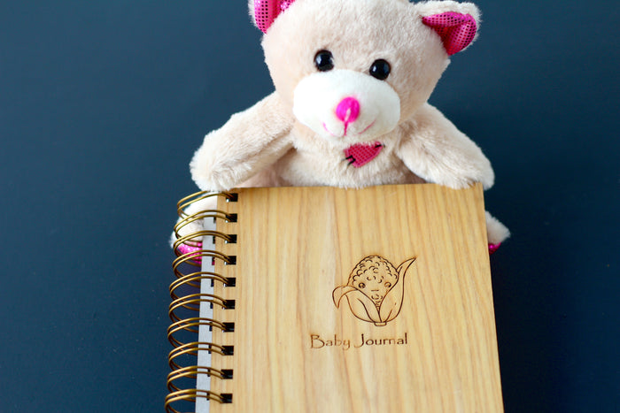 Handmade Wooden Baby Journal with cutie corn drawing