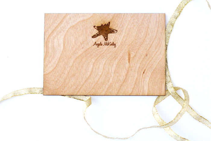 Personalized Wooden Bespoke Note Card - Handcrafted Engraved Starfish Greeting card