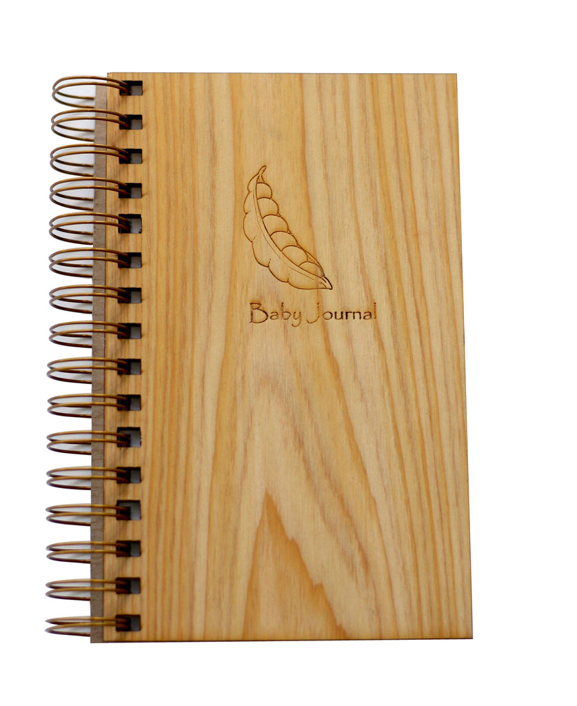 Engraved Wood Bump to Baby Journal - Engraved Spiral Baby Journal Notebook by Harley London