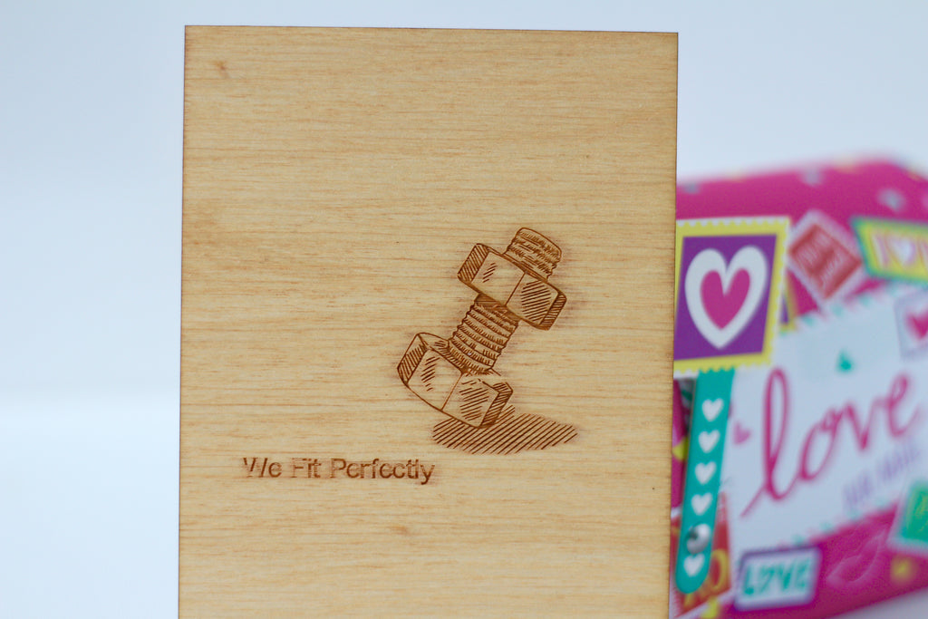 Wood Greeting Card - We Fit Perfectly - Harley London