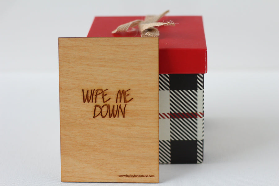 Wood Greeting Card - Wipe Me Down - Harley London