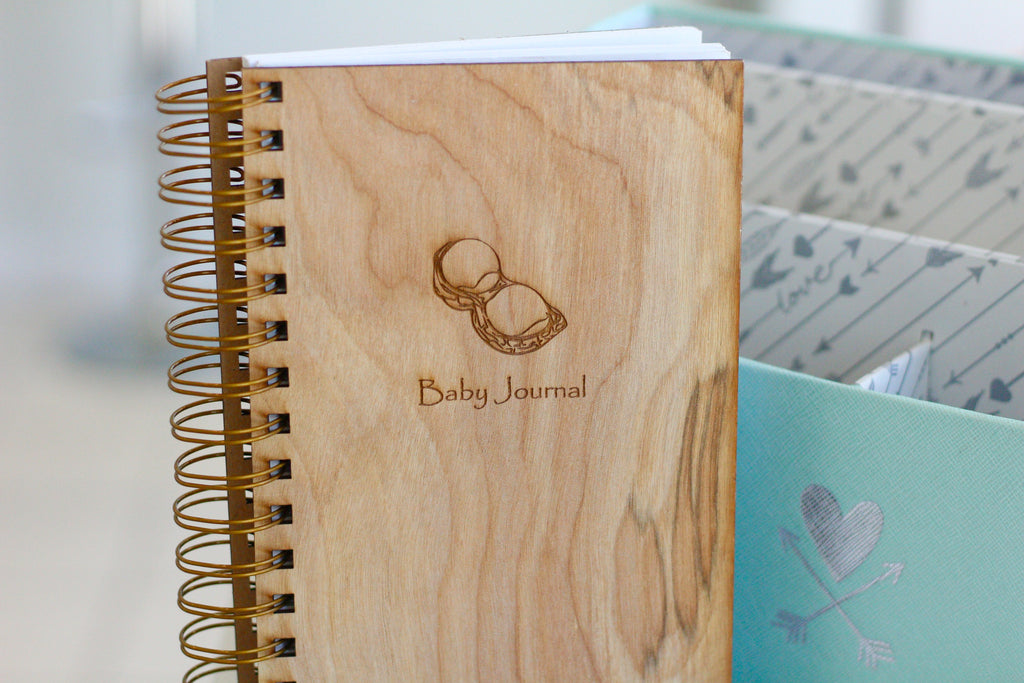 Engraved Baby Notebook Diary with cute peanut sketch by Harley London