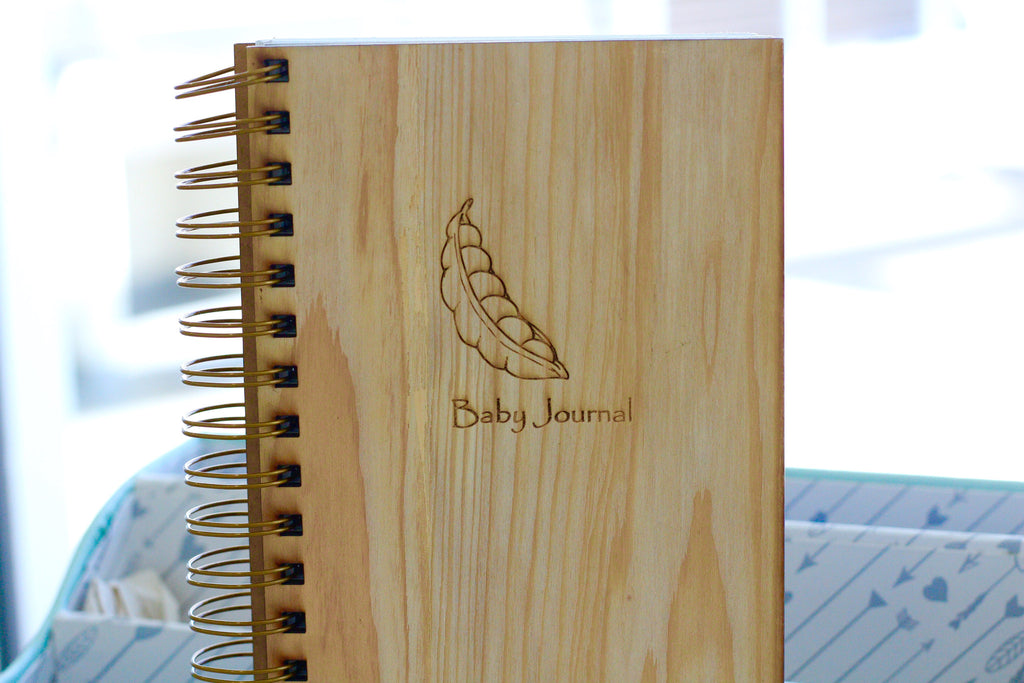 Engraved Spiral Baby Journal with cute string bean sketch - wooden baby planning notebook