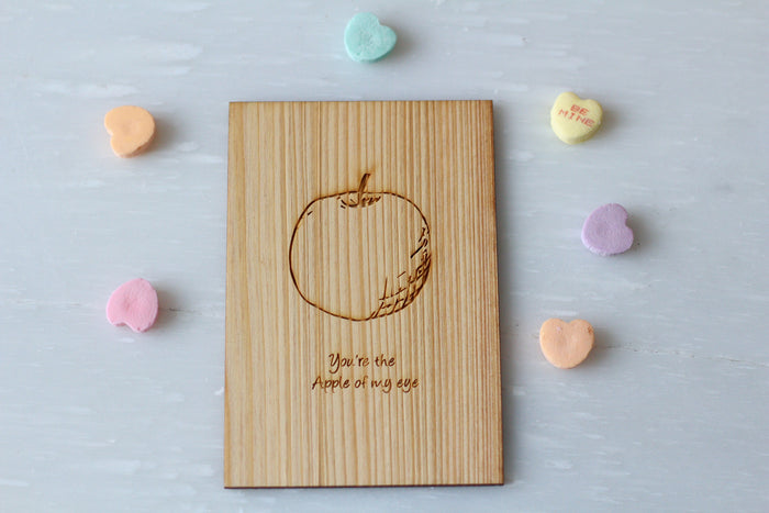 Wood Greeting Card - Apple of My Eye - Valentine Cards - Harley London