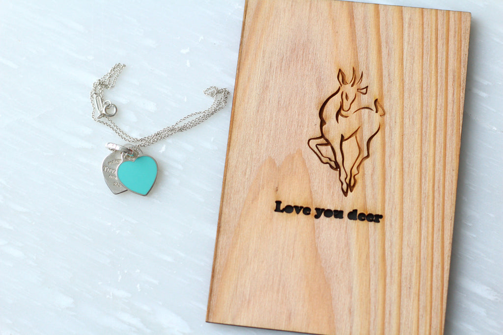 Wooden Love Card with Deer - Wood Anniversary Card - blue tiffany's locket