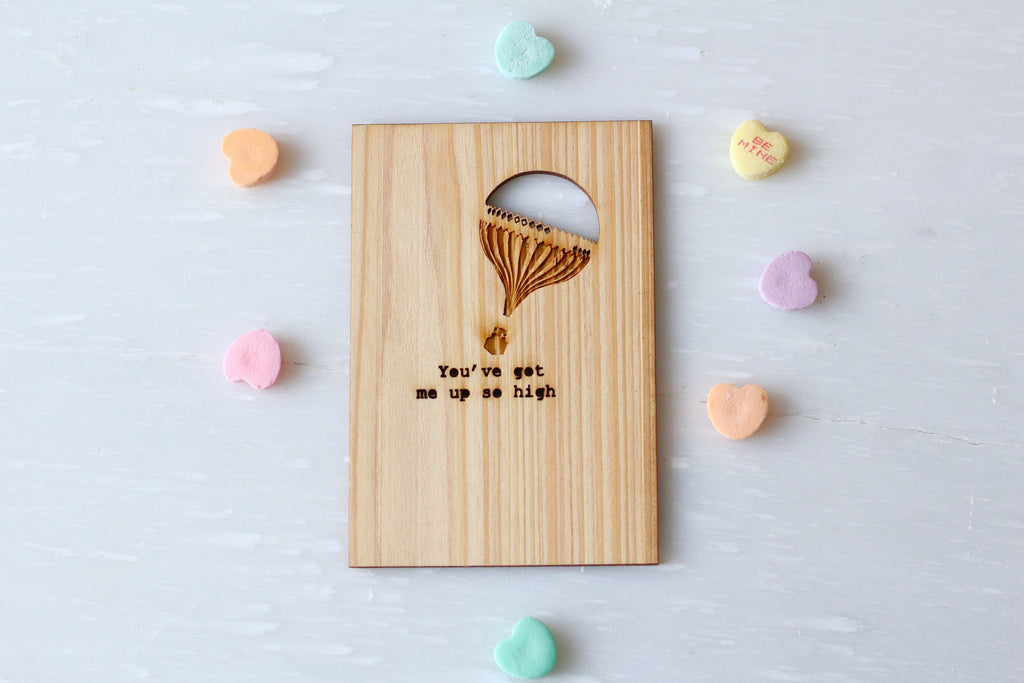 Wooden Love Card with Hot Air Balloon by Harley London
