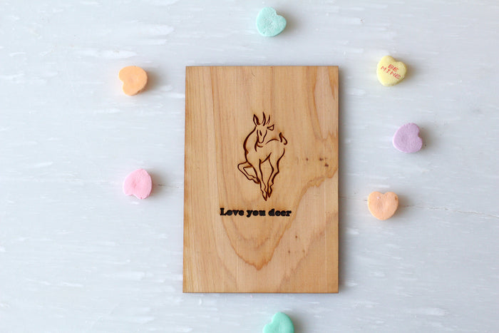 Deer Greeting Card Valentine's Card | Love Greeting Card | Wood Love Card