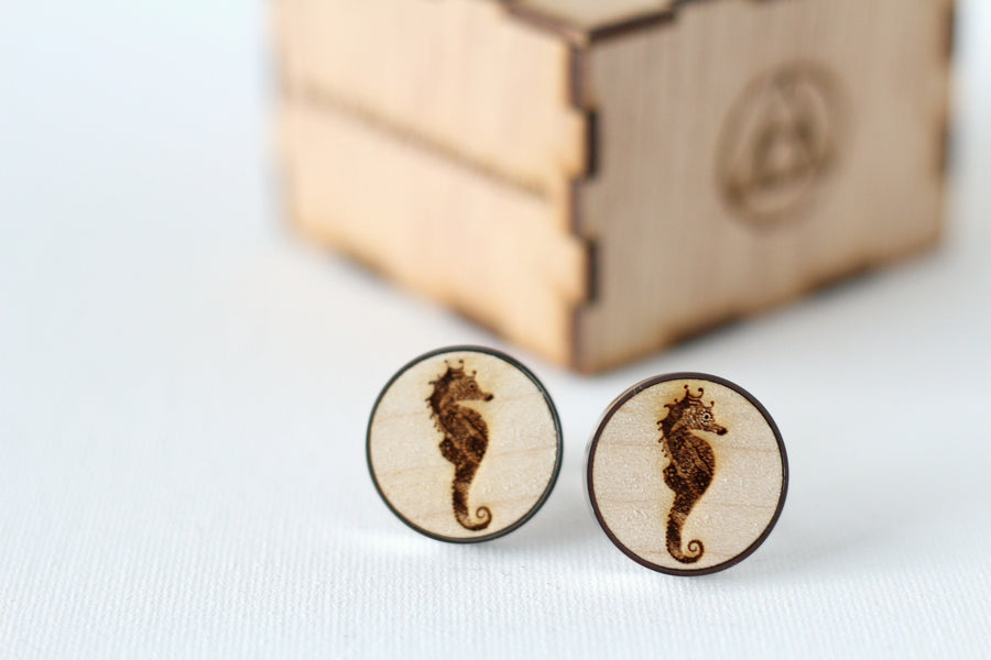 Zentangle Patterned sea Horse Cufflinks - birthday gifts for men - male anniversary items