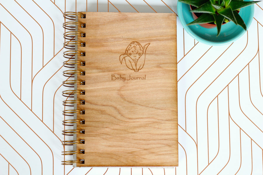 Wood Baby Planner - Baby Diary - cute corn sketch wooden journal