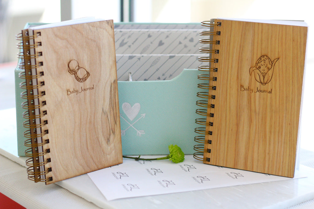 Engraved Wooden Spiral Baby Journal Collection