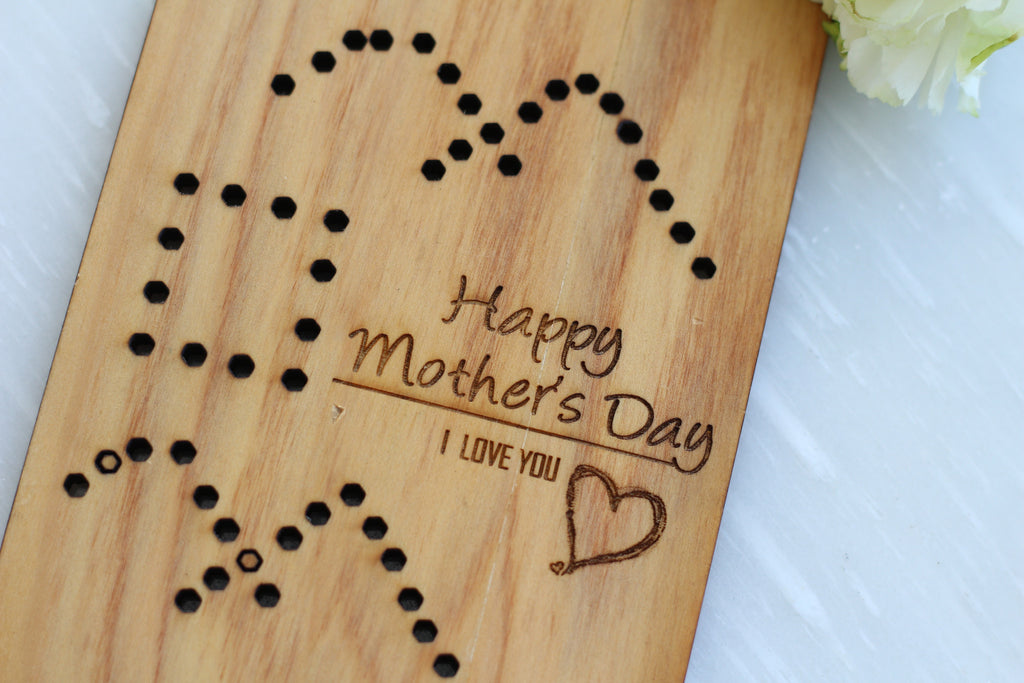 Beautiful Wood Mother's day Card by Harley London - Heart Mother's Day Card