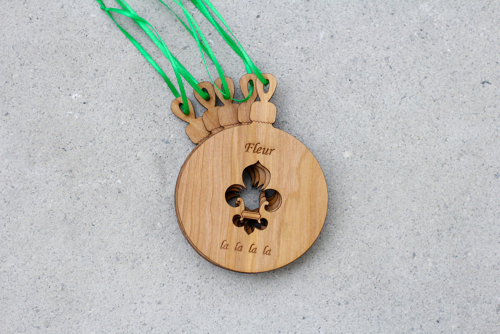 Engraved Wooden Holiday Ornament