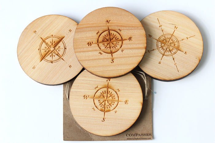 Handcrafted Engraved Wooden Nautical Compass Coasters - Compass Coasters by Harley London