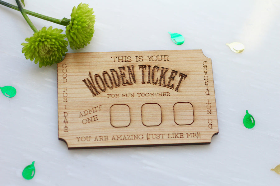 Wooden Date Ticket - Wood Date Greeting card by Harley London