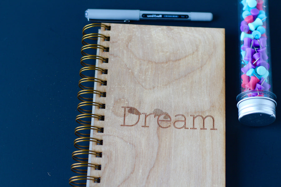 Wooden Cover Dream Diary Journal - Wood Dream Notebook Journal