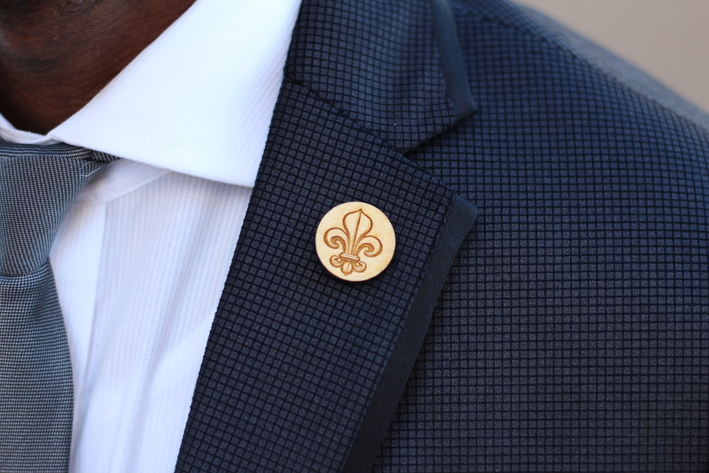 Wood Lapel Pin   Fleur De Lis Lapel Pin   Harley London