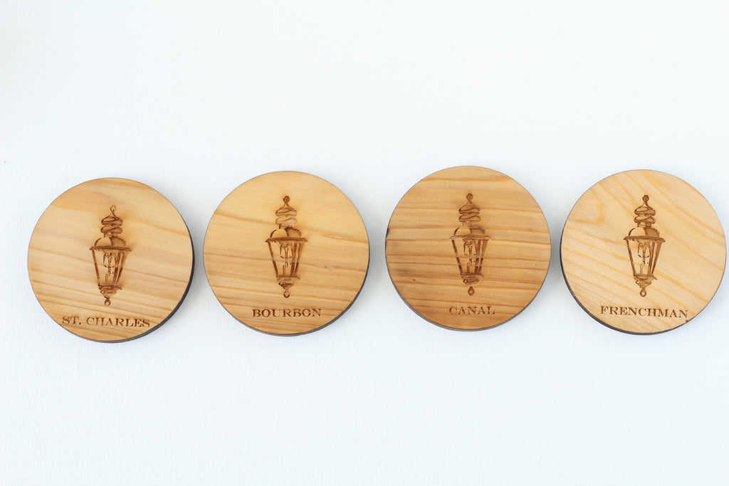 Wood Coasters - New Orleans Gas Lantern Coasters - Harley London