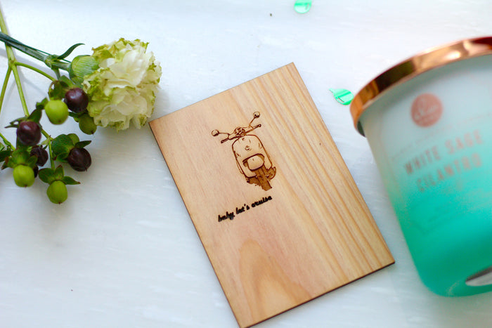 Wooden Greeting Card with Scooter - Wooden Love Card by Harley London