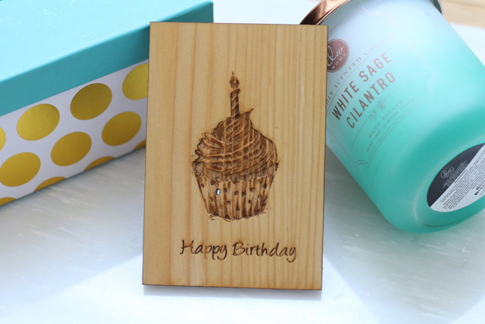 Wood Happy Birthday Card by Harley London - Louisiana Cypress Wood Greeting Card - Happy Birthday Card