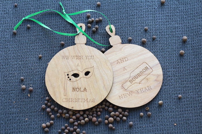 Wooden Holiday Ornaments - New Orleans Christmas Tree Ornaments