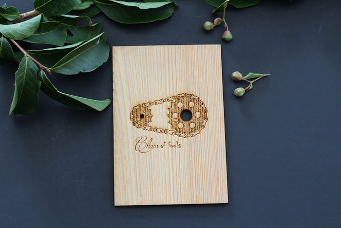Wooden Love Card with One Bicycle Chain and two chainrings