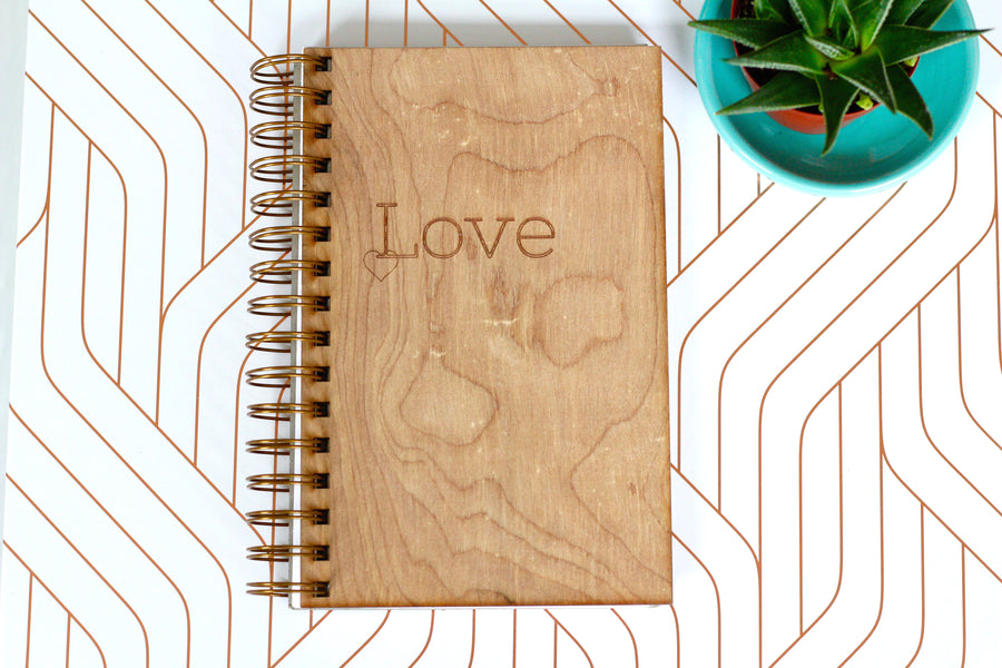 Wooden Love Notebook Journal - Heart Journal by Harley London