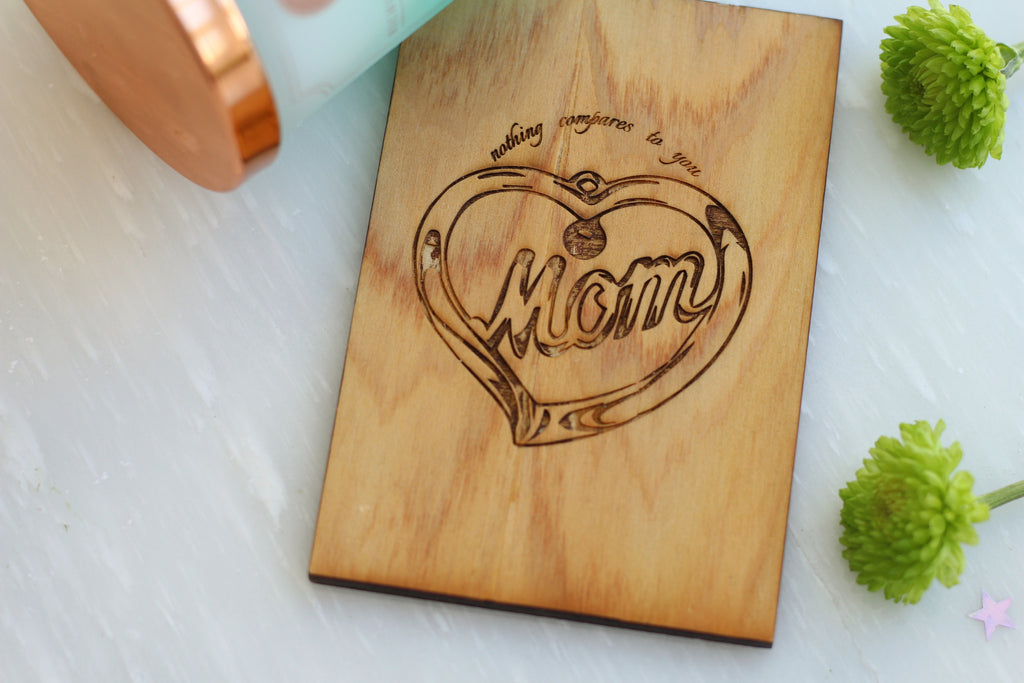 Wooden Mothers Day Pendant Greeting Card - Cypress Mother's Day Card
