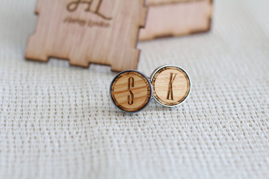 Monogrammed Wood Cufflinks by Harley London - Monogrammed Wedding Cufflinks
