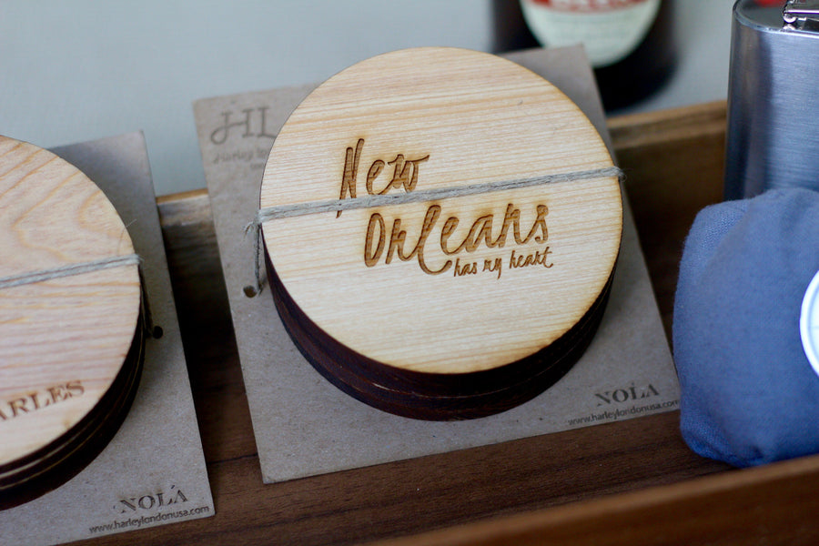 Engraved Wooden Coasters New Orleans | New Orleans Quotes Coasters made from wood