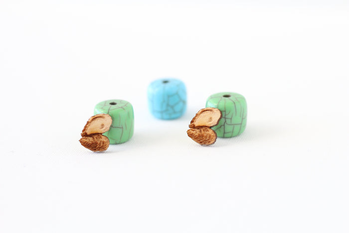 Wood Stud Earrings - Engraved Oyster Earrings - Harley London
