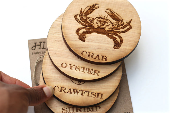 Wood Coasters - Seafood