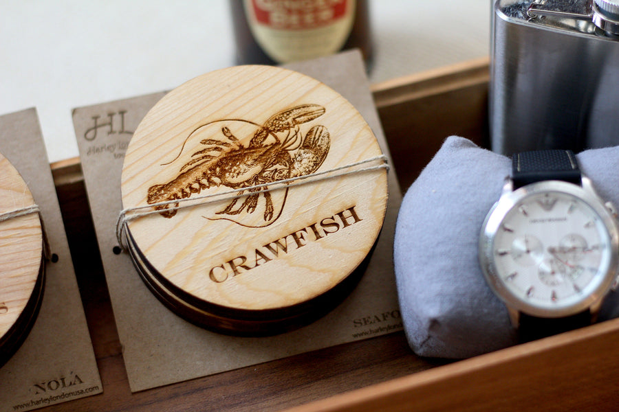 Wood Engraved Seafood Coasters by Harley London