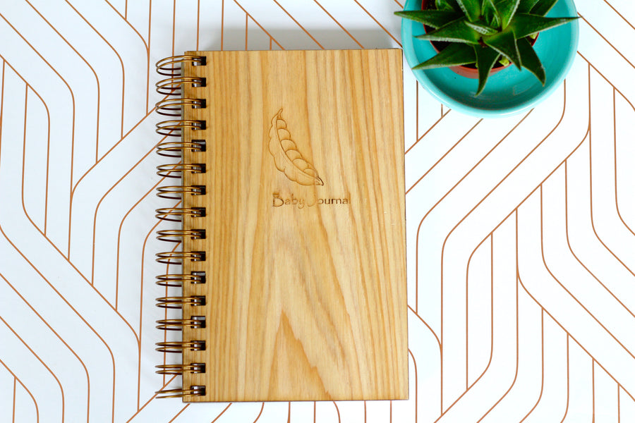 Wooden baby Journal - baby shower gift made from cypress wood