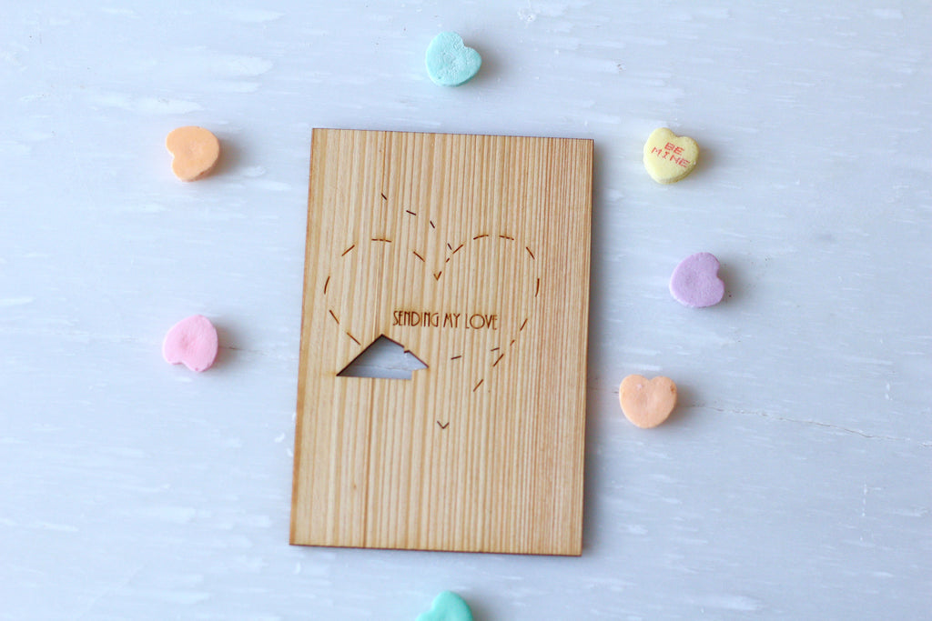 Valentines Card Love Card Wooden Greeting Card