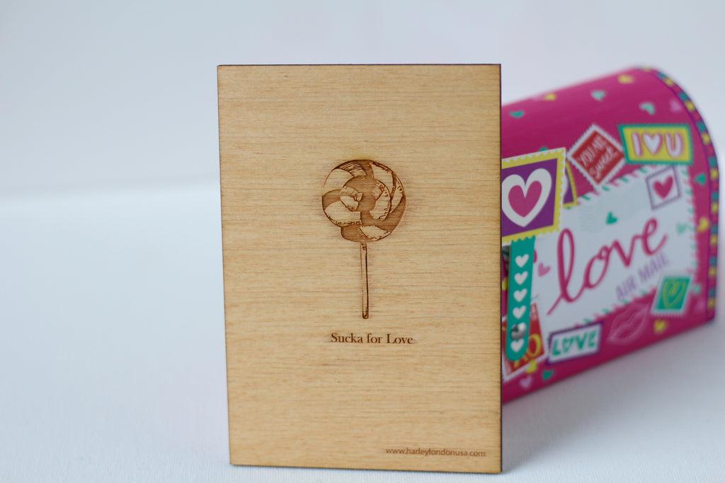 Valentine Cards - Sucka for love - Wood Greeting Card - Harley London