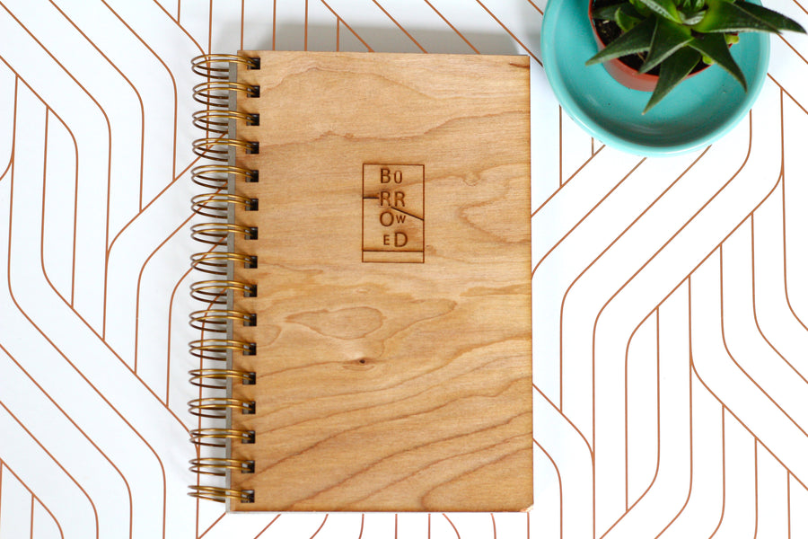 Wooden Wedding Notebook Journal - something borrowed journal - wedding planner