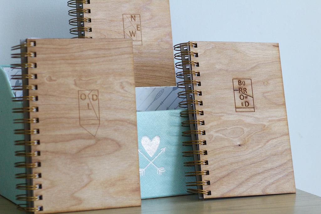 Wooden Wedding Journal Collection: Old, New, Borrowed, Blue